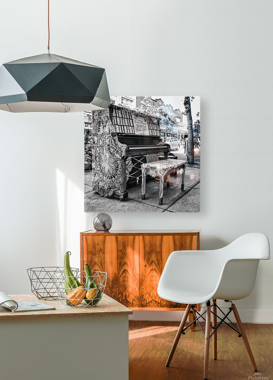 Street Piano  HD Metal print with Floating Frame on Back