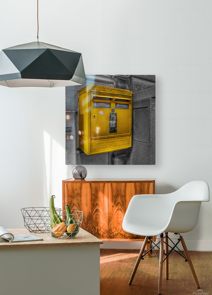 Old French Mailbox  HD Metal print with Floating Frame on Back