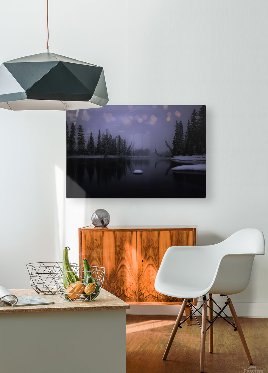 Winter Bow River  HD Metal print with Floating Frame on Back