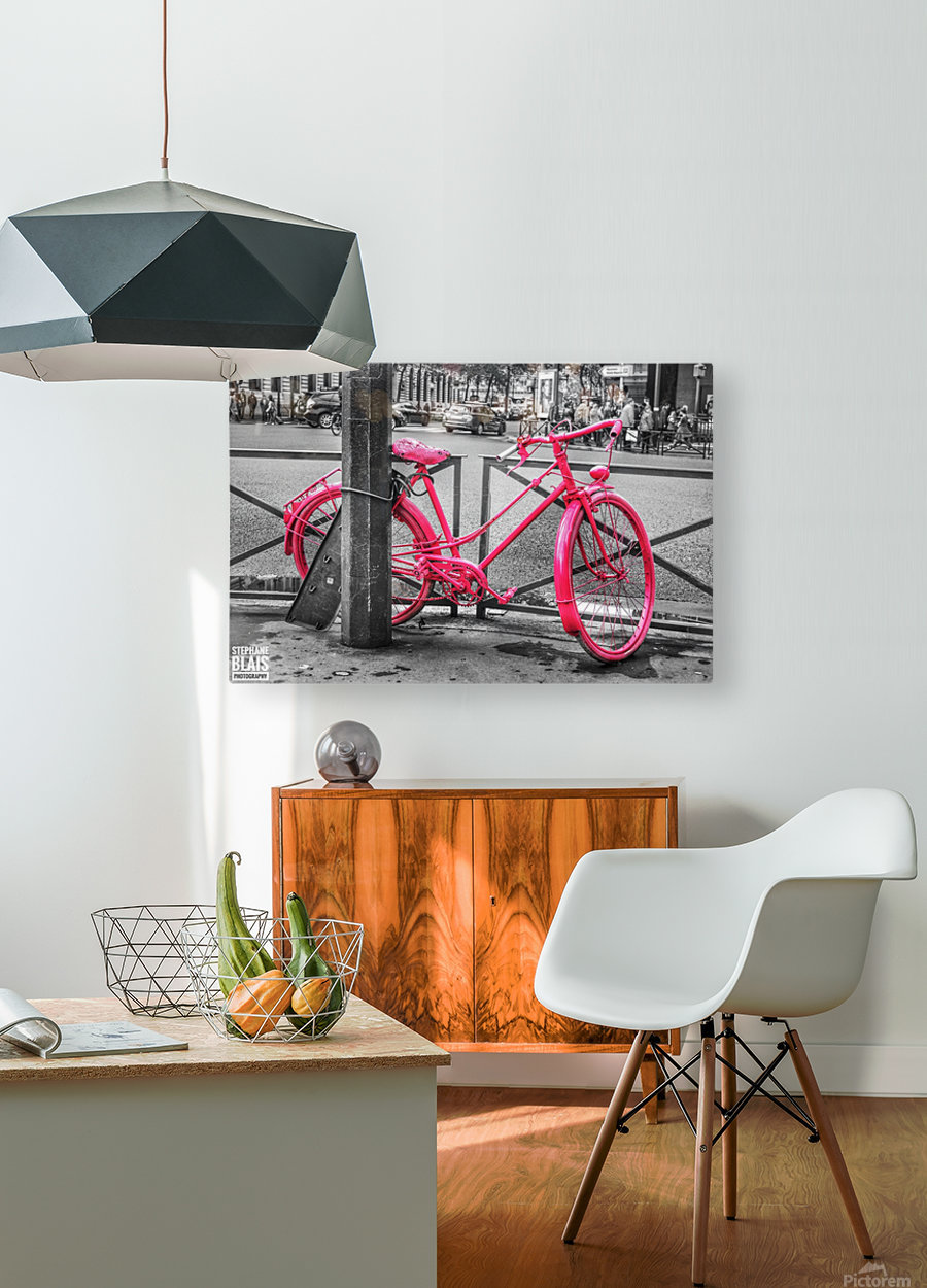 Pink Bicycle  HD Metal print with Floating Frame on Back