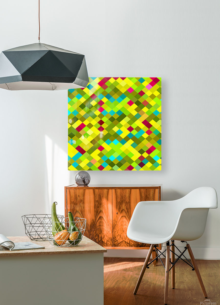 geometric square pixel pattern abstract in yellow red green blue  HD Metal print with Floating Frame on Back