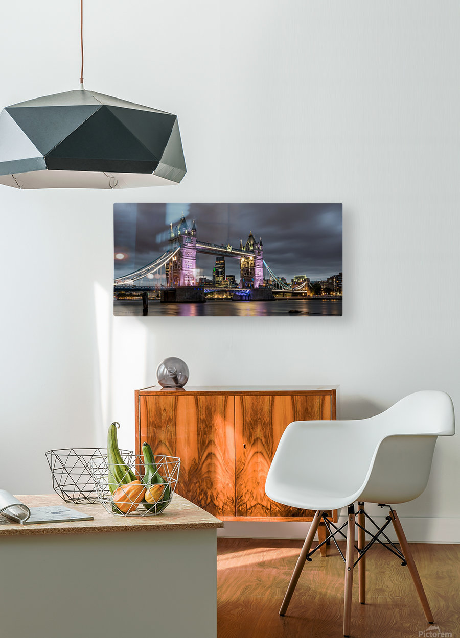Tower Bridge at Night  HD Metal print with Floating Frame on Back