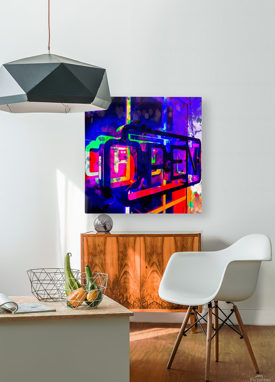 OPEN neon sign with pink purple red and blue painting abstract background  HD Metal print with Floating Frame on Back