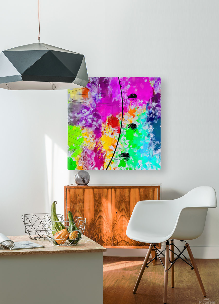 ferris wheel with pink blue green red yellow painting abstract background  HD Metal print with Floating Frame on Back