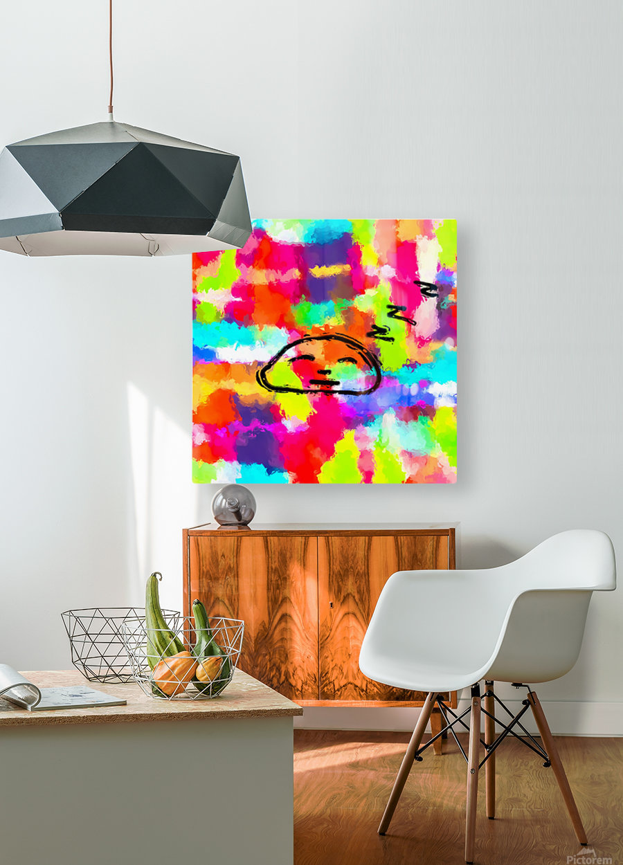 sleeping cartoon face with painting abstract background in red pink yellow blue orange  HD Metal print with Floating Frame on Back