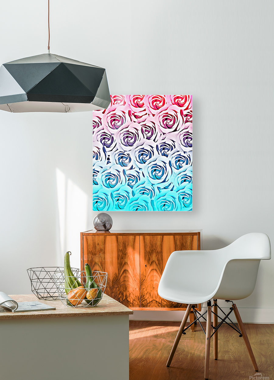 blooming rose pattern texture abstract background in pink and blue  HD Metal print with Floating Frame on Back