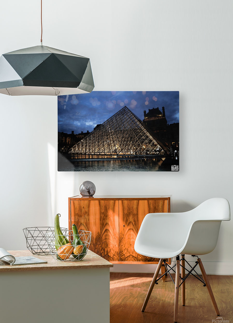 Le Louvre Pyramid  HD Metal print with Floating Frame on Back