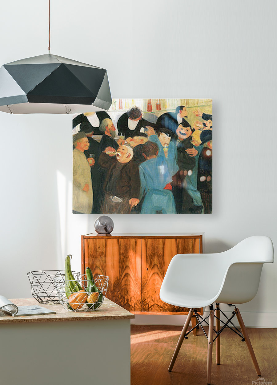 The bistro by Felix Vallotton  HD Metal print with Floating Frame on Back