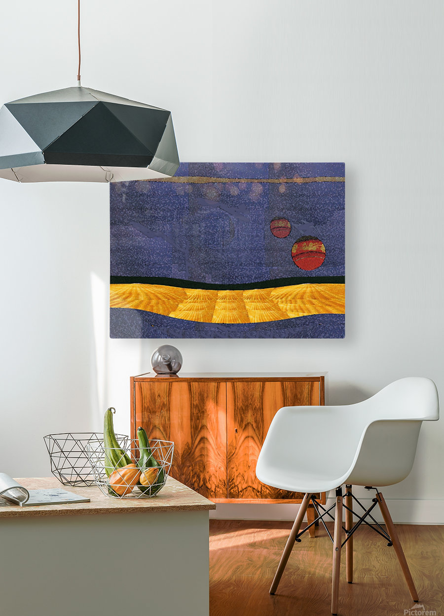 Two Moon Landscape 0628  HD Metal print with Floating Frame on Back