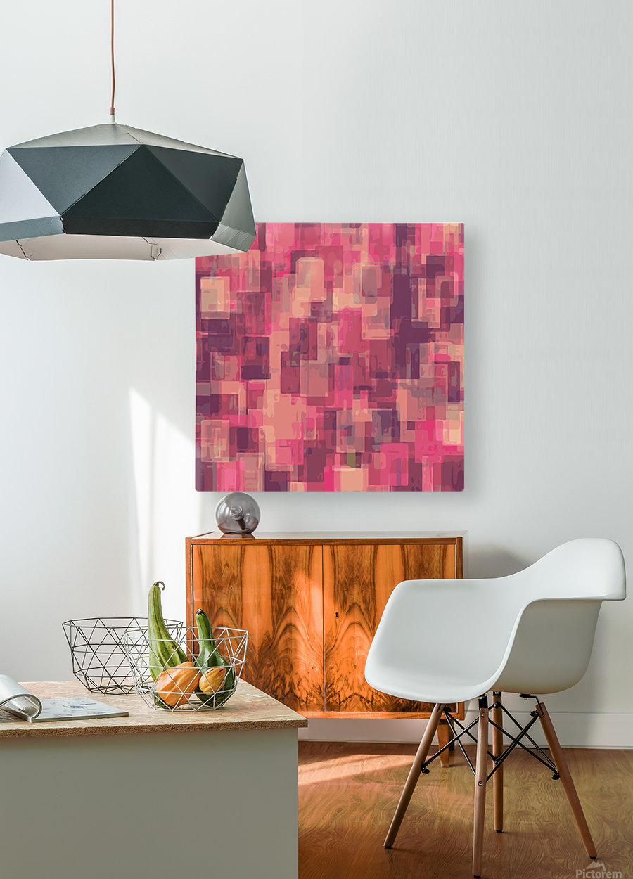 psychedelic geometric square pattern abstract in pink and purple  HD Metal print with Floating Frame on Back