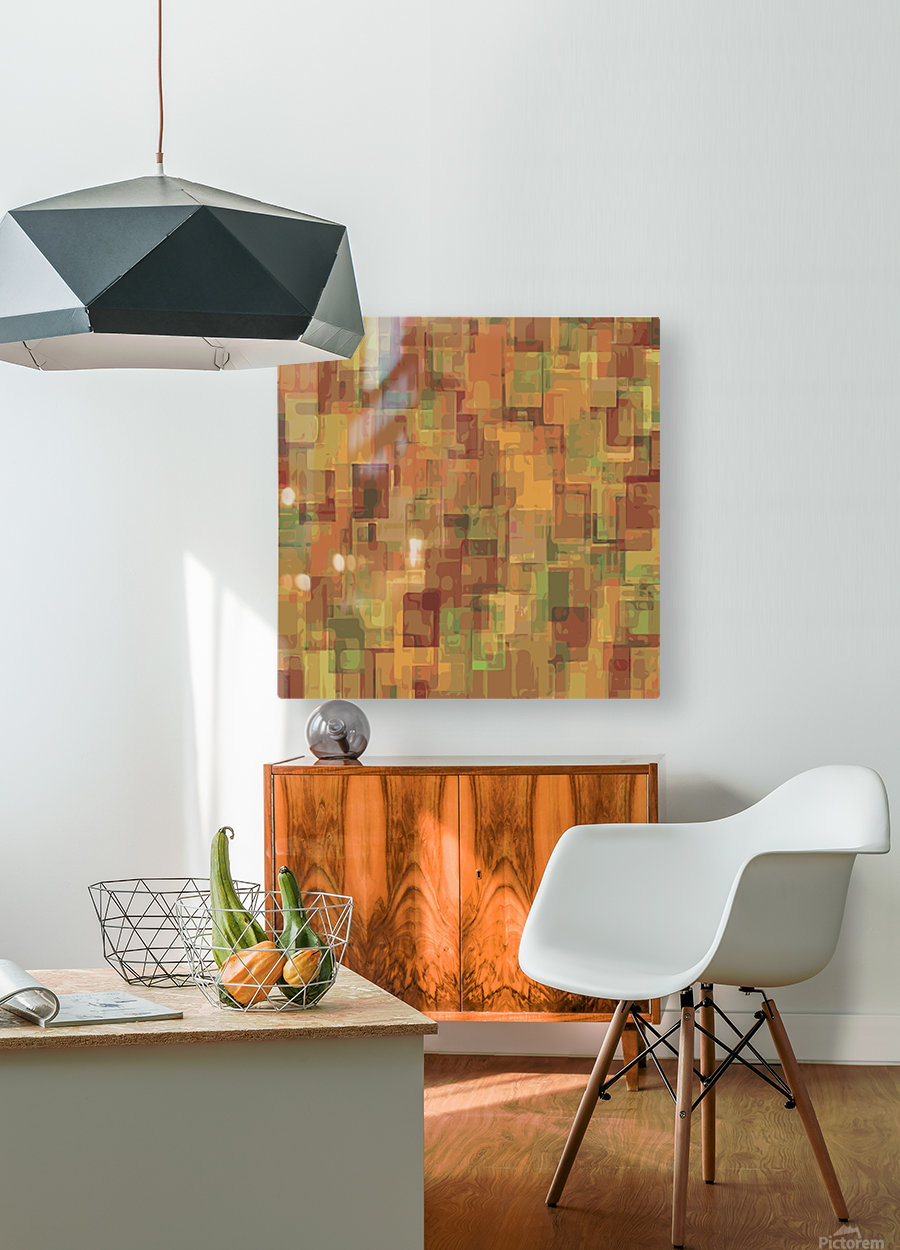vintage psychedelic geometric square pattern abstract in brown and green  HD Metal print with Floating Frame on Back