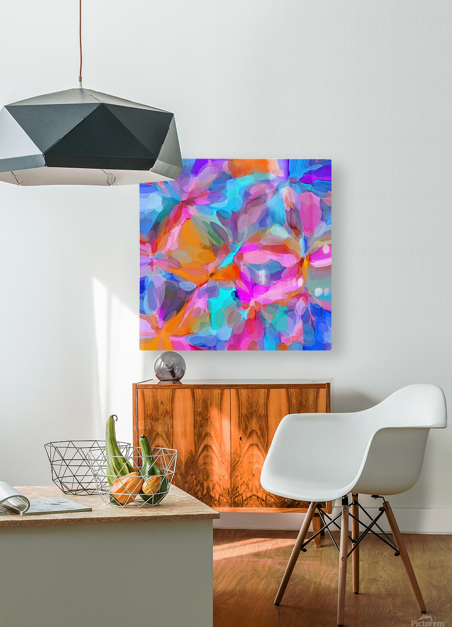 circle pattern abstract background in pink orange and blue  HD Metal print with Floating Frame on Back