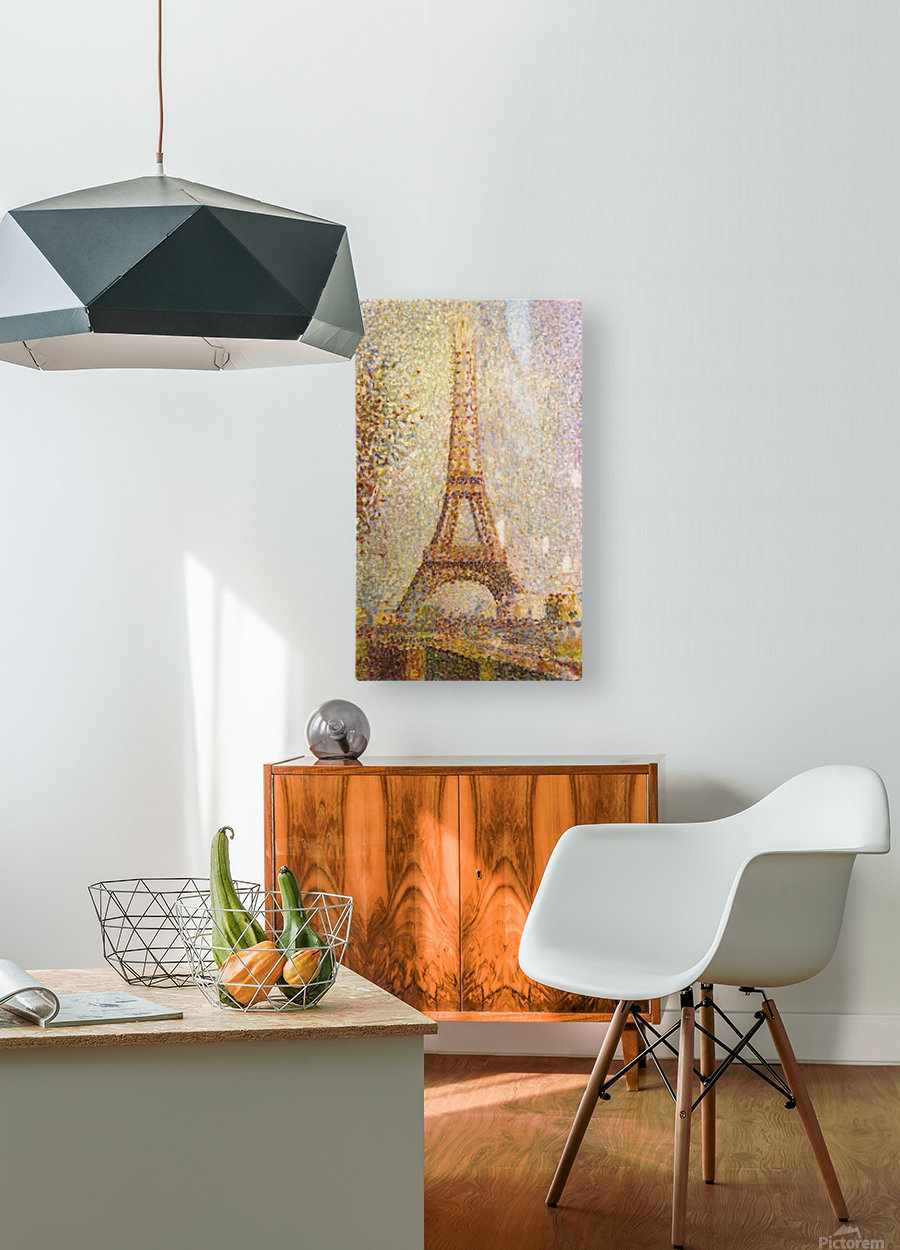 The Eiffel Tower by Seurat  HD Metal print with Floating Frame on Back