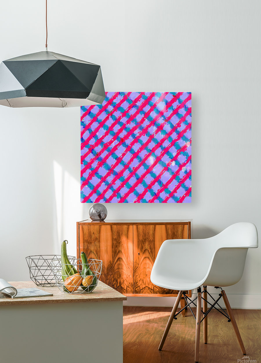 line pattern painting abstract background in red purple blue  HD Metal print with Floating Frame on Back