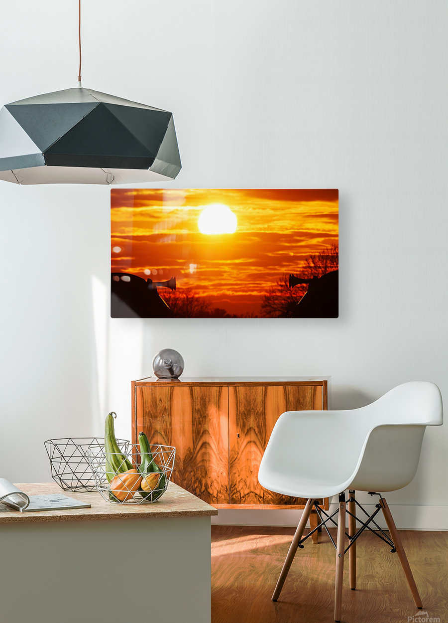 Train horn sunset  HD Metal print with Floating Frame on Back