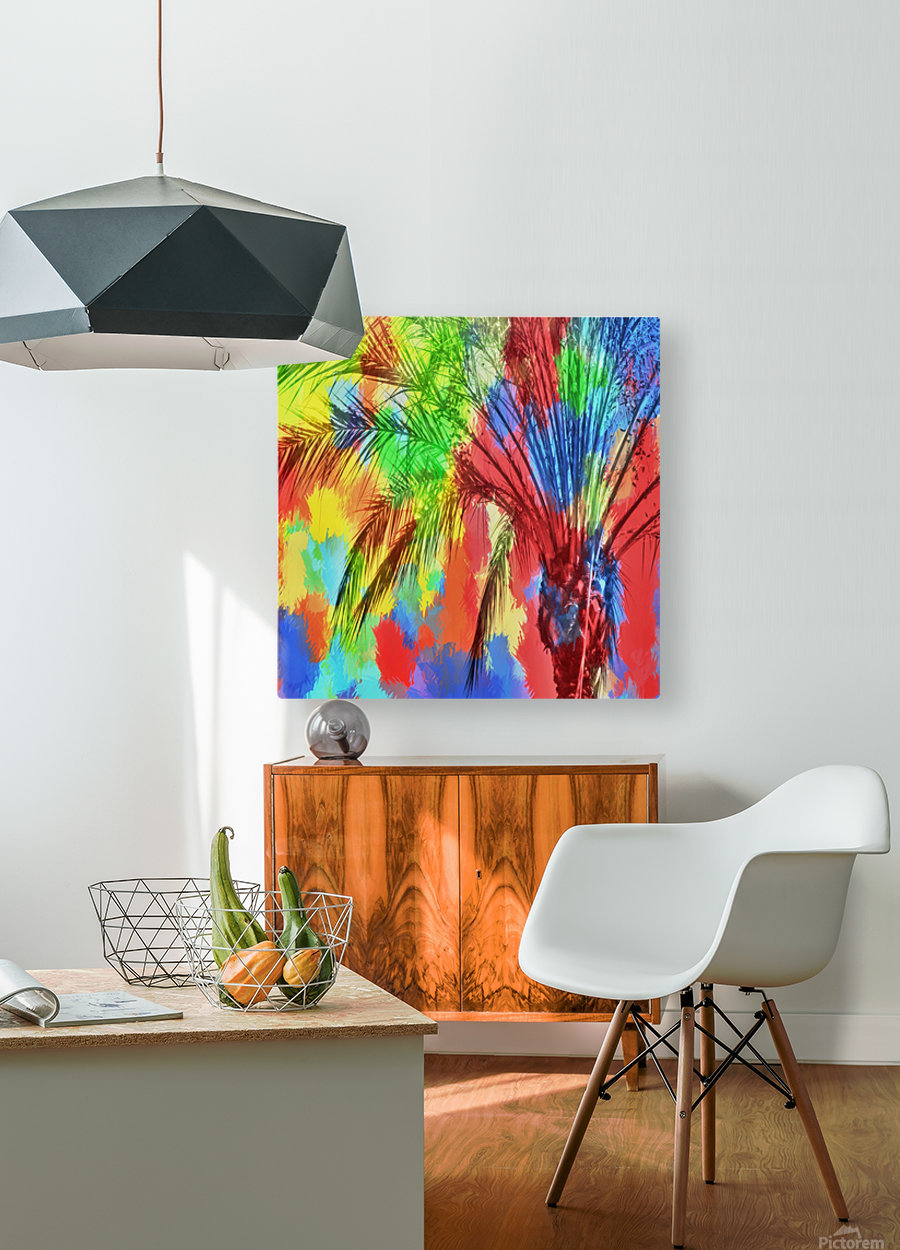isolate palm tree with painting abstract background in red blue green yellow  HD Metal print with Floating Frame on Back