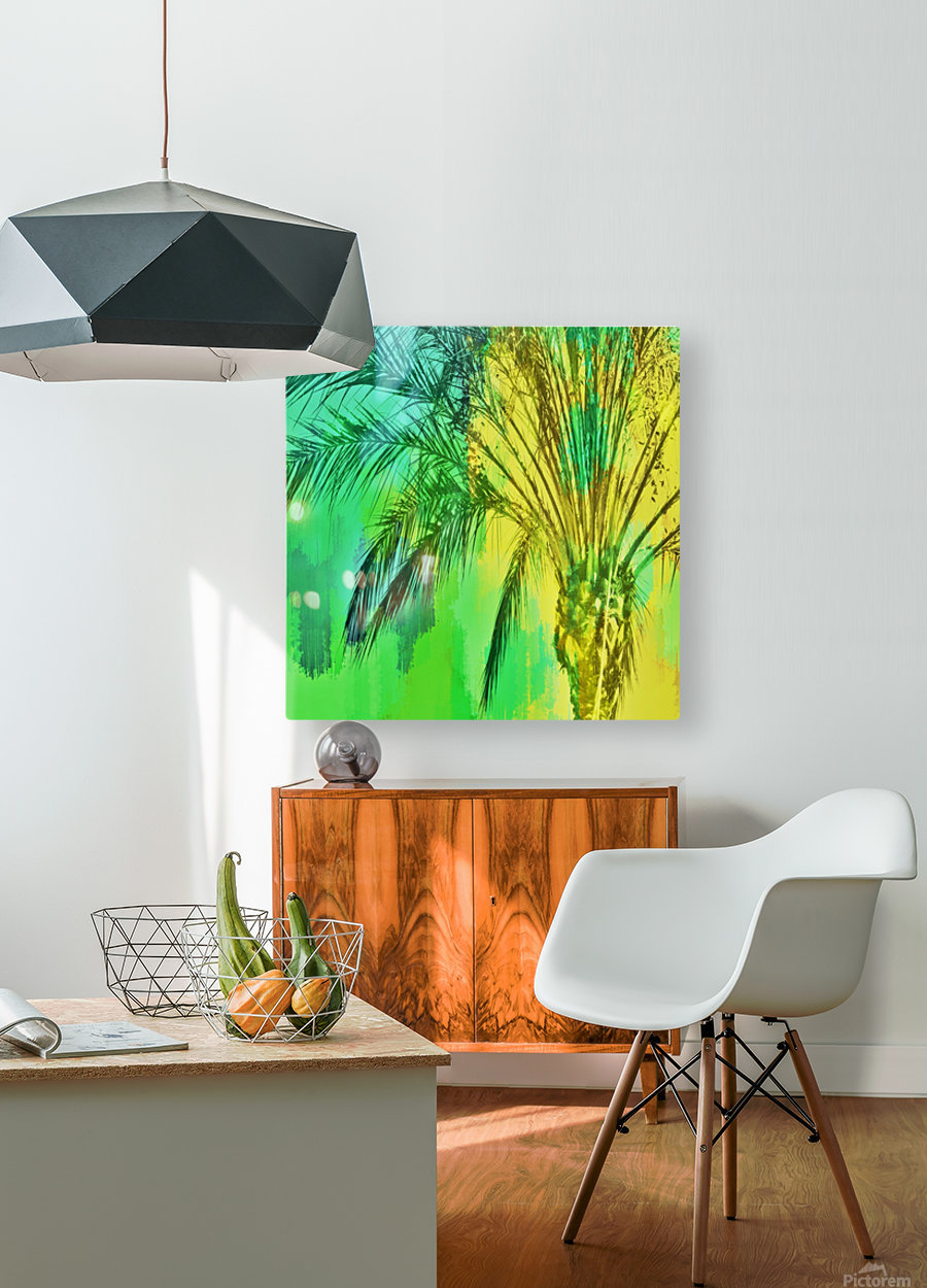 isolate palm tree with painting abstract background in green yellow  HD Metal print with Floating Frame on Back