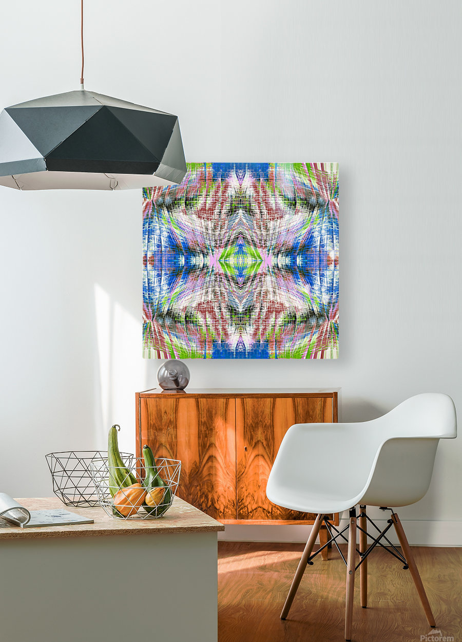 geometric symmetry pattern abstract background in pink blue green brown  HD Metal print with Floating Frame on Back