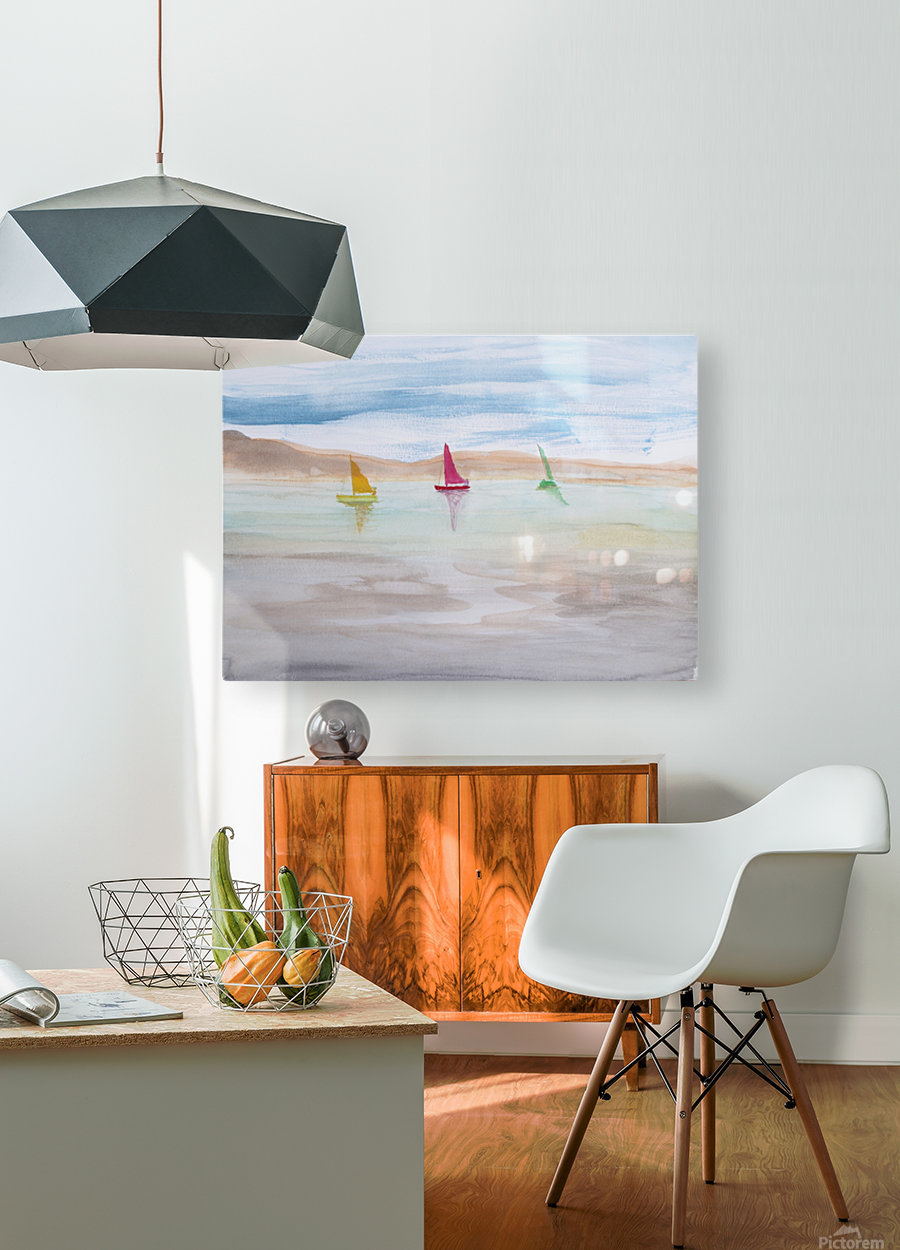 Three sailboats.  HD Metal print with Floating Frame on Back