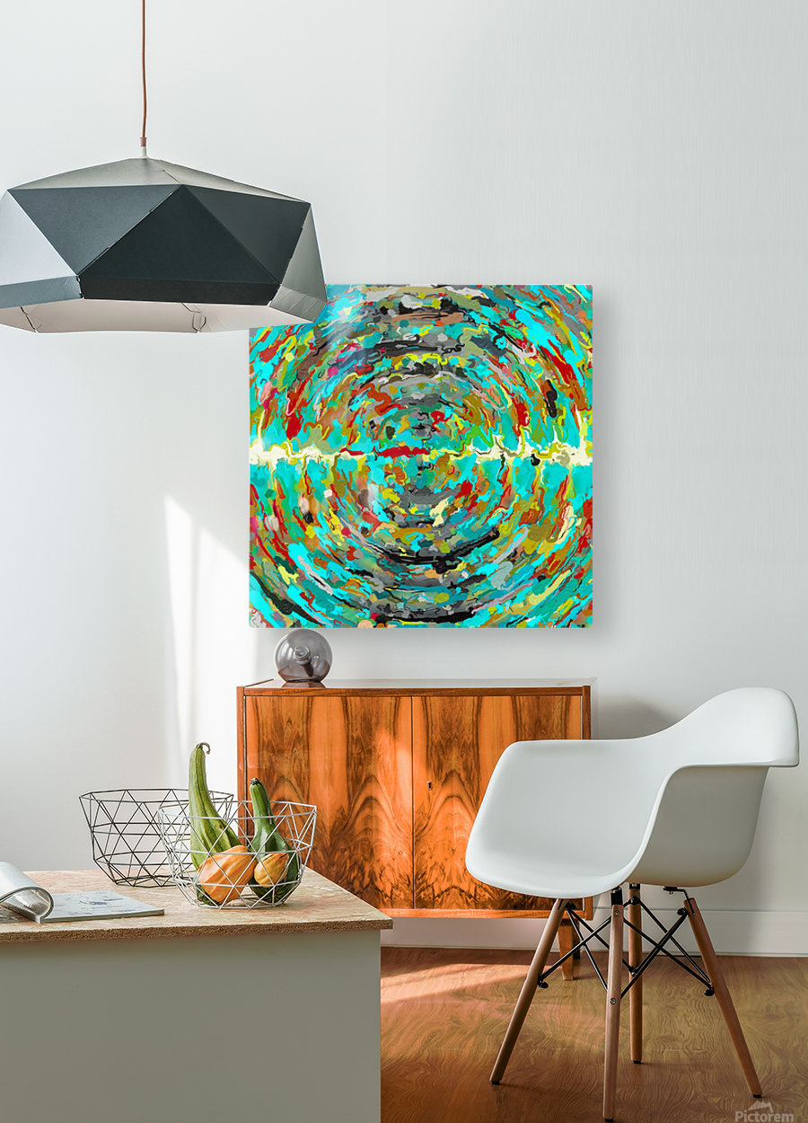 psychedelic circle pattern painting abstract background in green blue yellow brown  HD Metal print with Floating Frame on Back