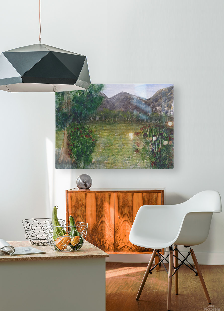 Distant Mountains.  HD Metal print with Floating Frame on Back