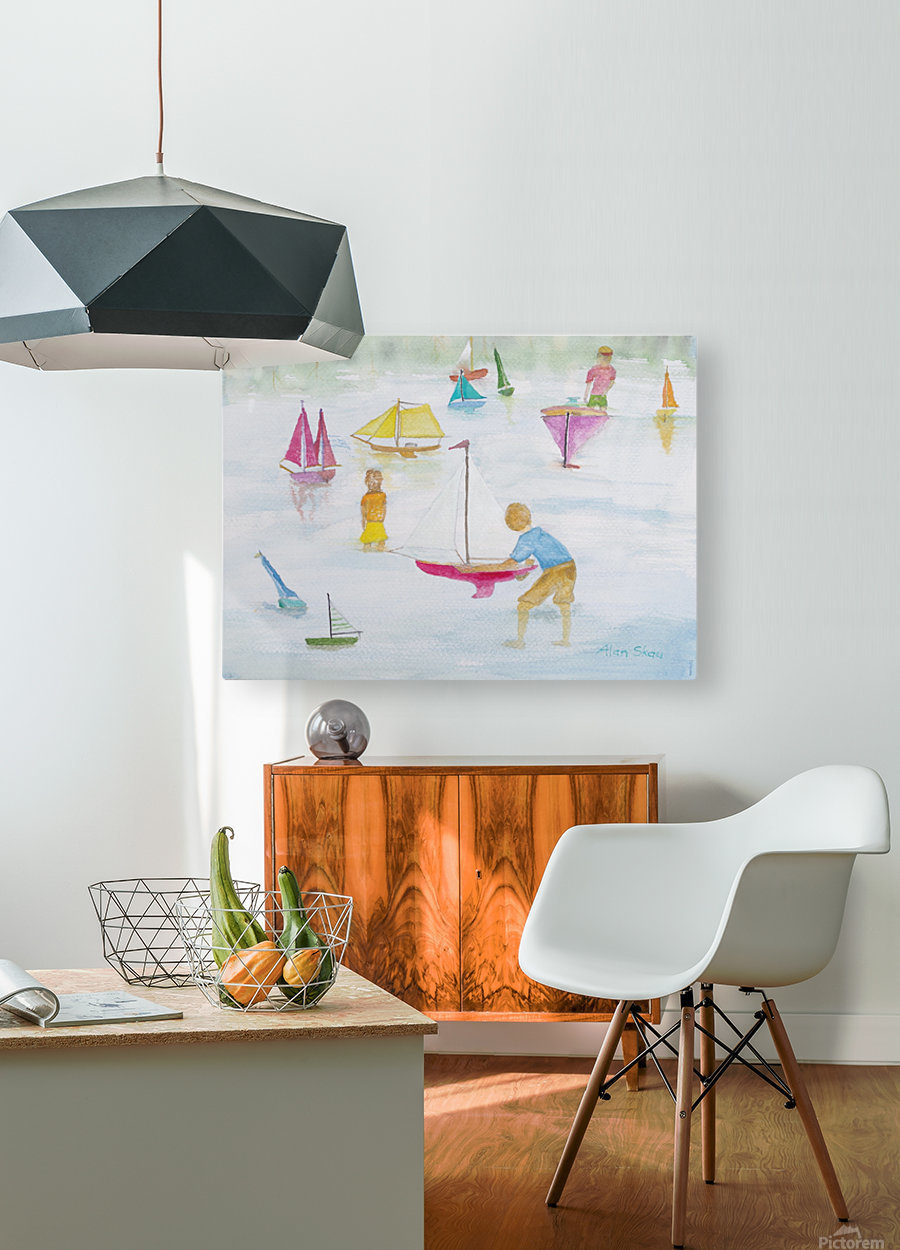 Children playing with sailboats.  HD Metal print with Floating Frame on Back