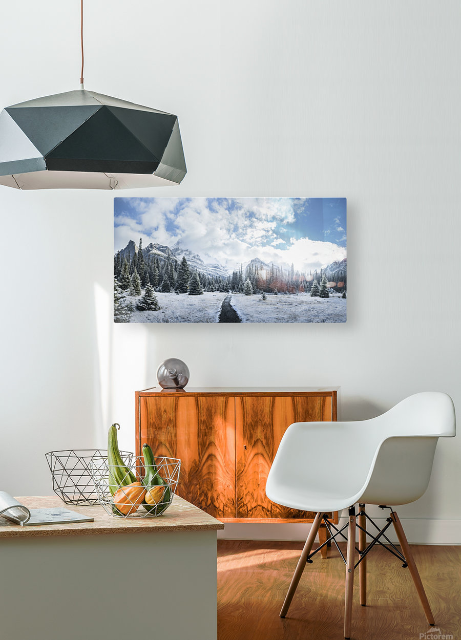 Mountain World  HD Metal print with Floating Frame on Back