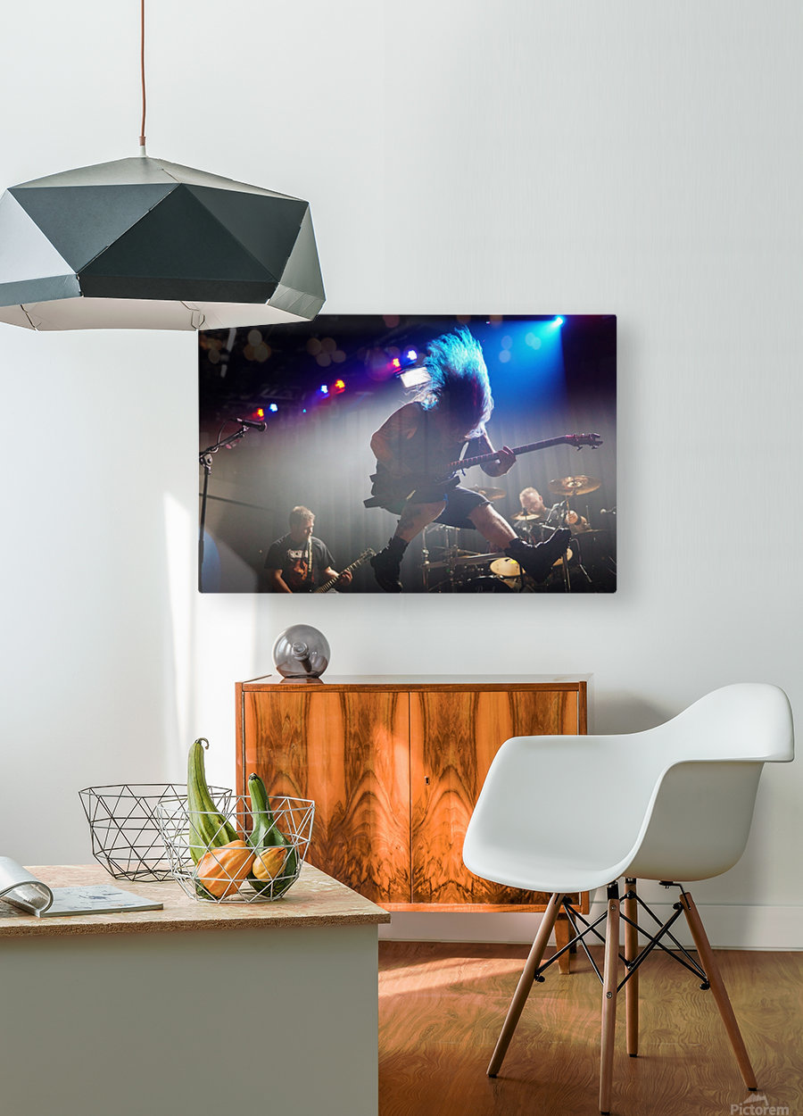 Jumping hair rock  HD Metal print with Floating Frame on Back