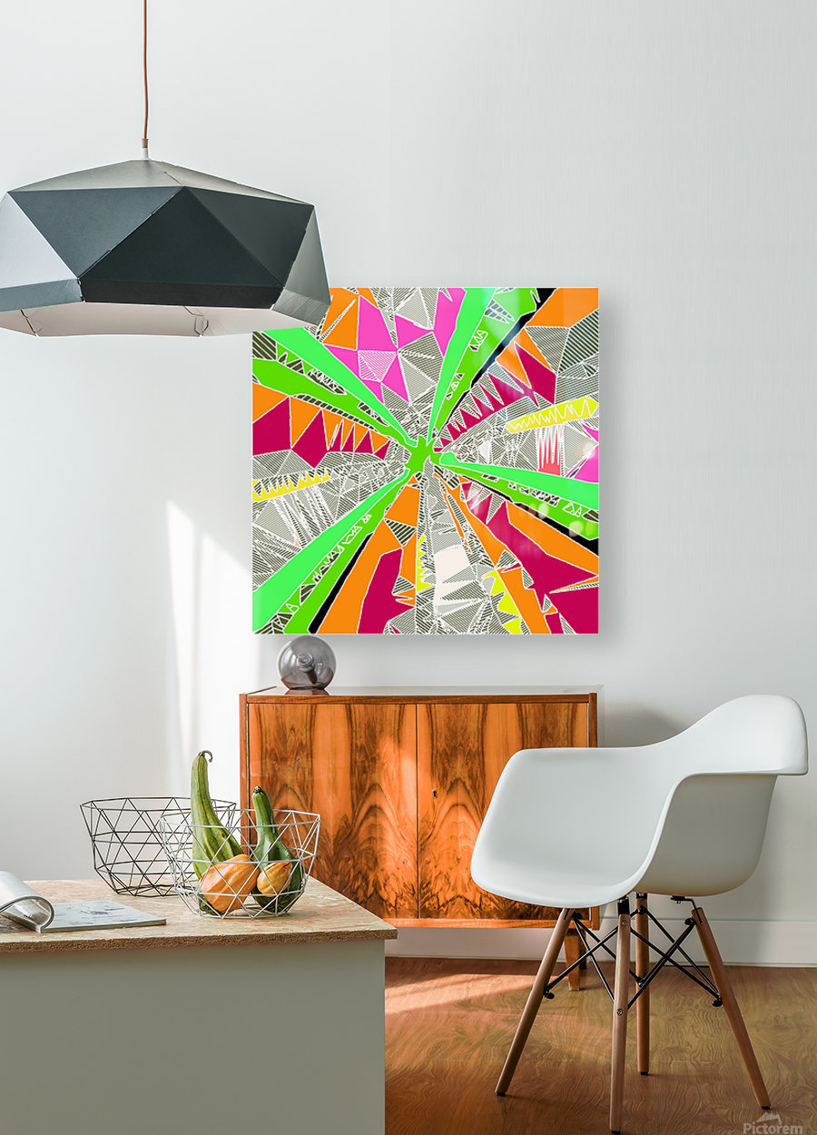 psychedelic geometric pattern drawing abstract background in green orange red pink  HD Metal print with Floating Frame on Back