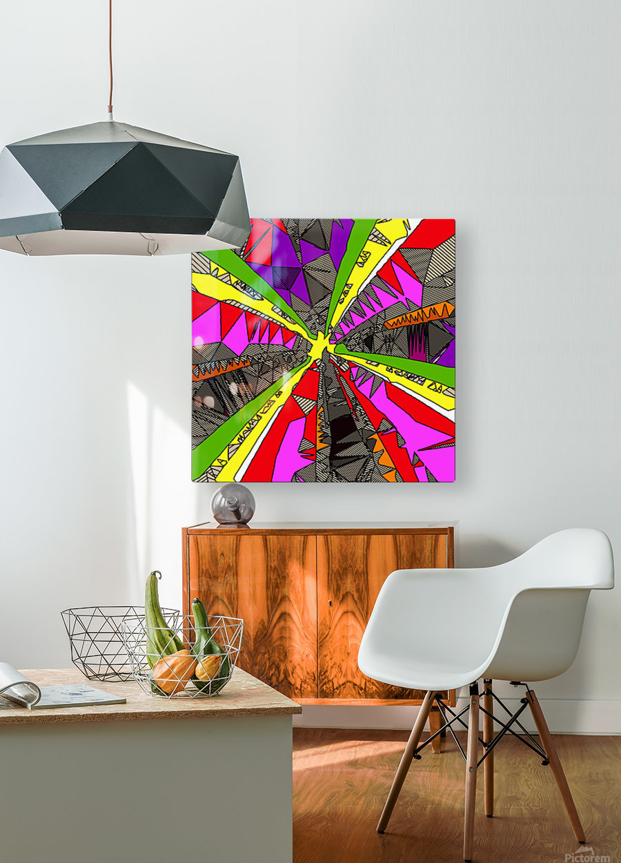 psychedelic geometric pattern drawing abstract background in red pink green yellow  HD Metal print with Floating Frame on Back
