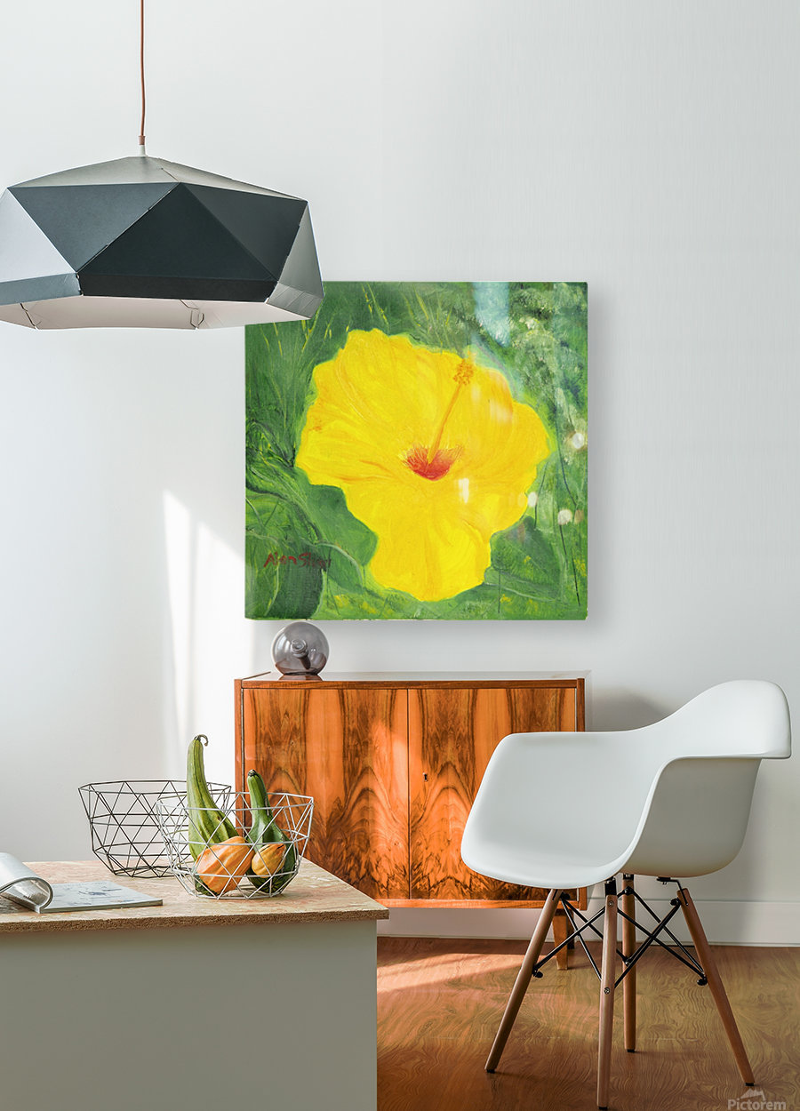 Yellow Hisbiscus Flower.  HD Metal print with Floating Frame on Back