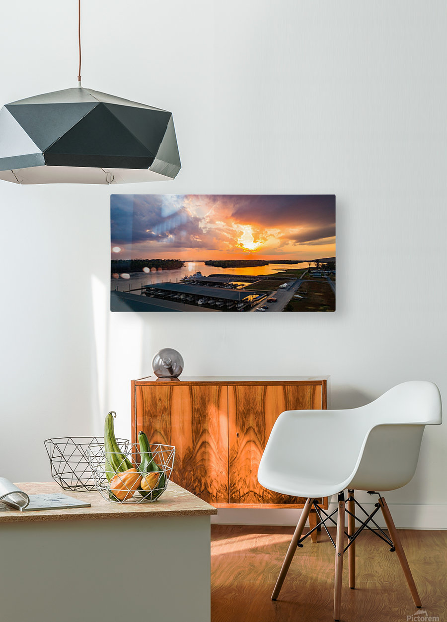Grafton, IL Sunset  HD Metal print with Floating Frame on Back