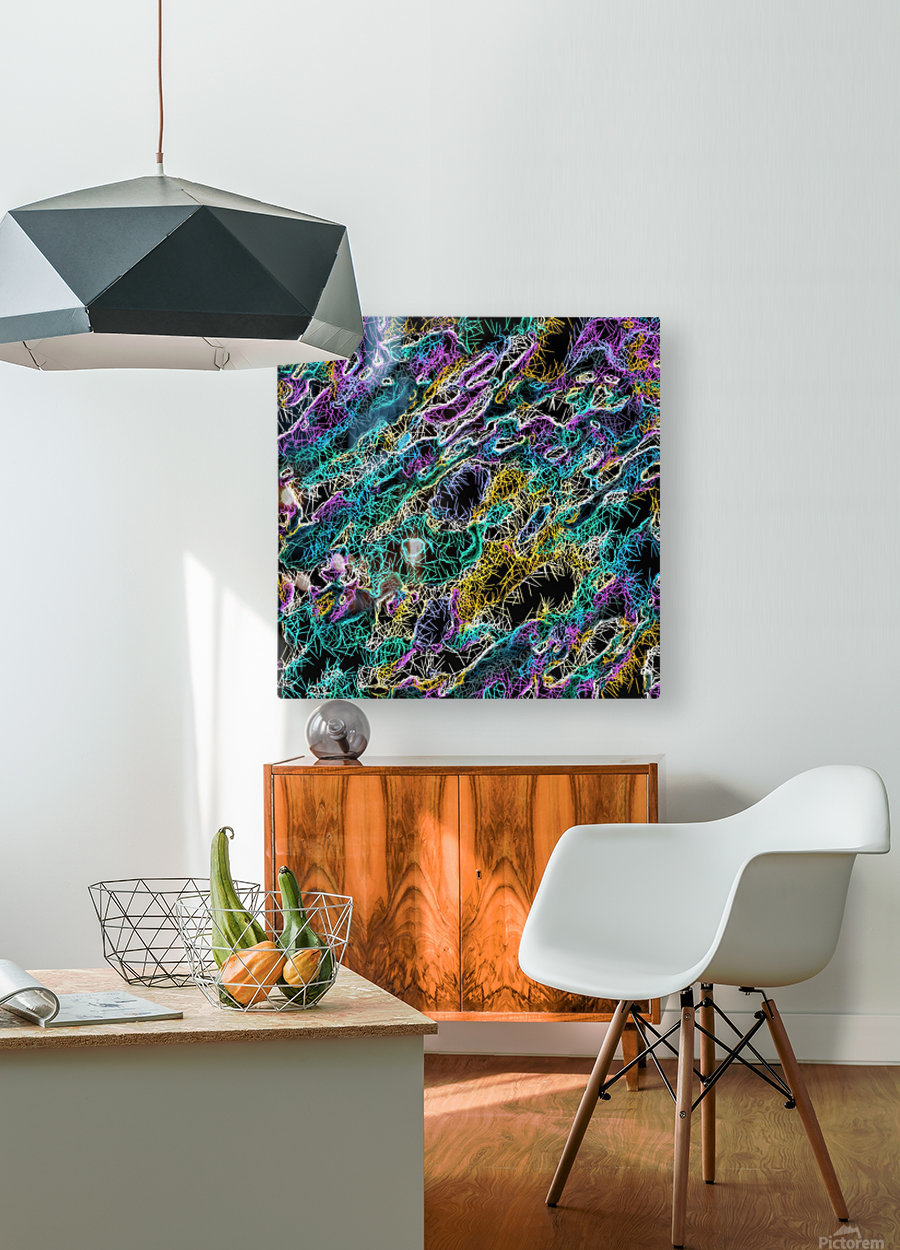 psychedelic rotten sketching texture abstract background in green purple yellow  HD Metal print with Floating Frame on Back