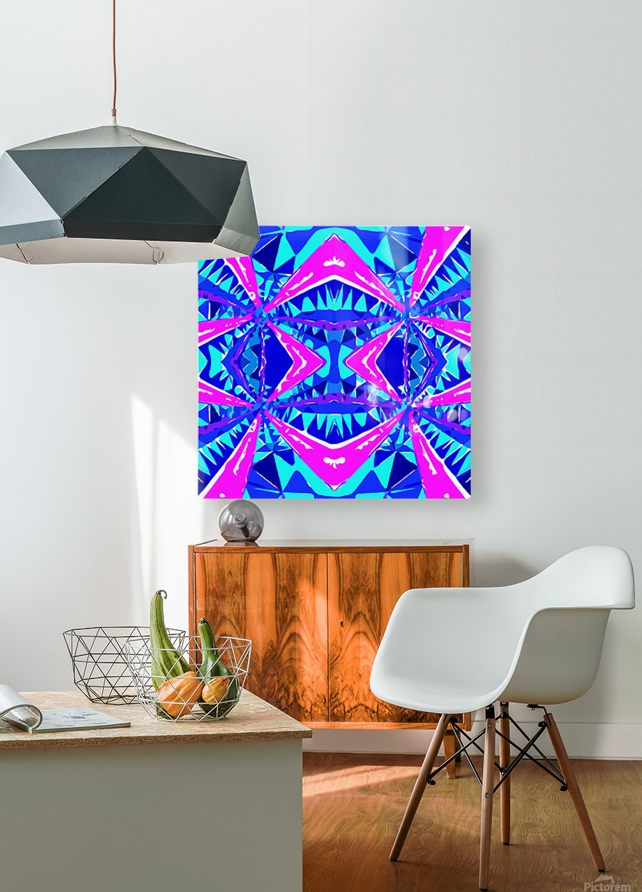 psychedelic geometric abstract pattern background in blue pink purple  HD Metal print with Floating Frame on Back