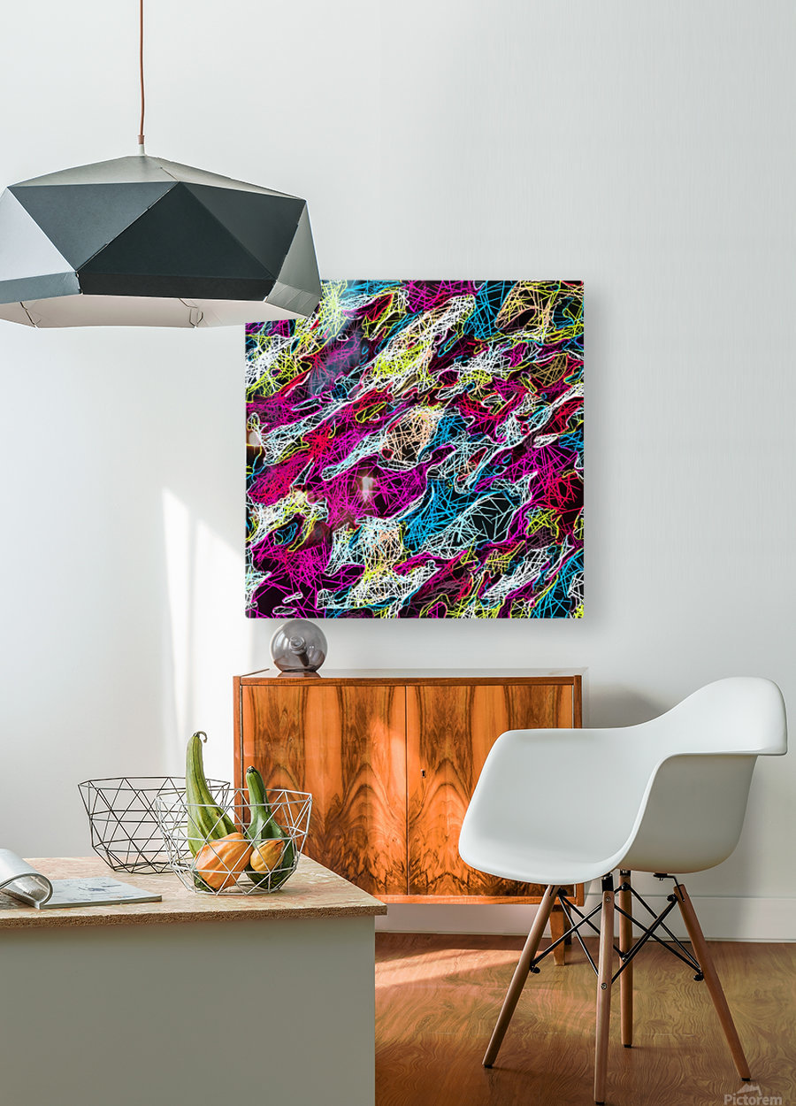 psychedelic rotten sketching texture abstract background in pink blue yellow  HD Metal print with Floating Frame on Back