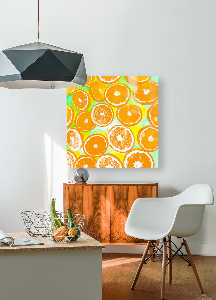 juicy orange pattern abstract with yellow and green background  HD Metal print with Floating Frame on Back