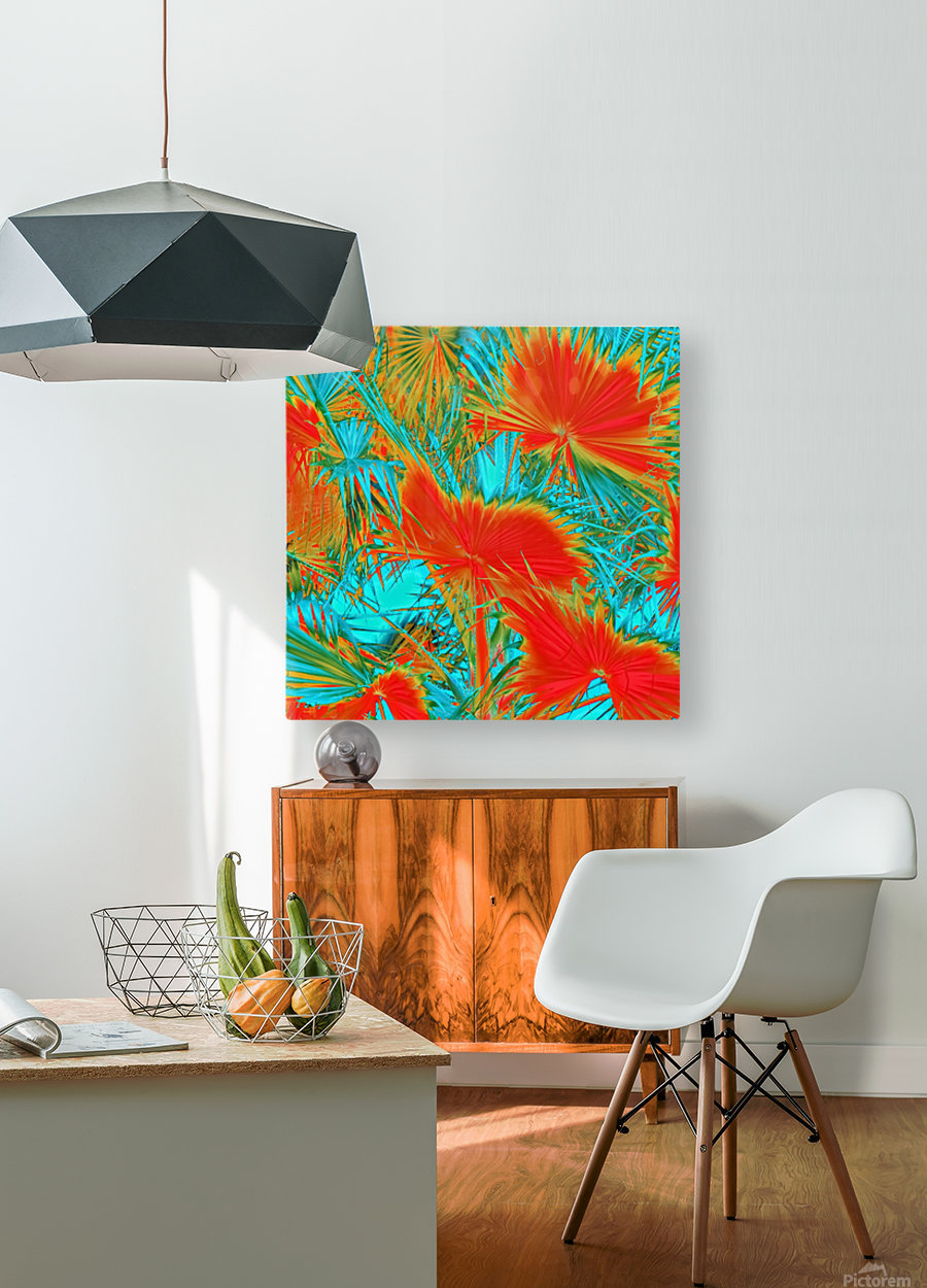 closeup palm leaf texture abstract background in orange blue green  HD Metal print with Floating Frame on Back