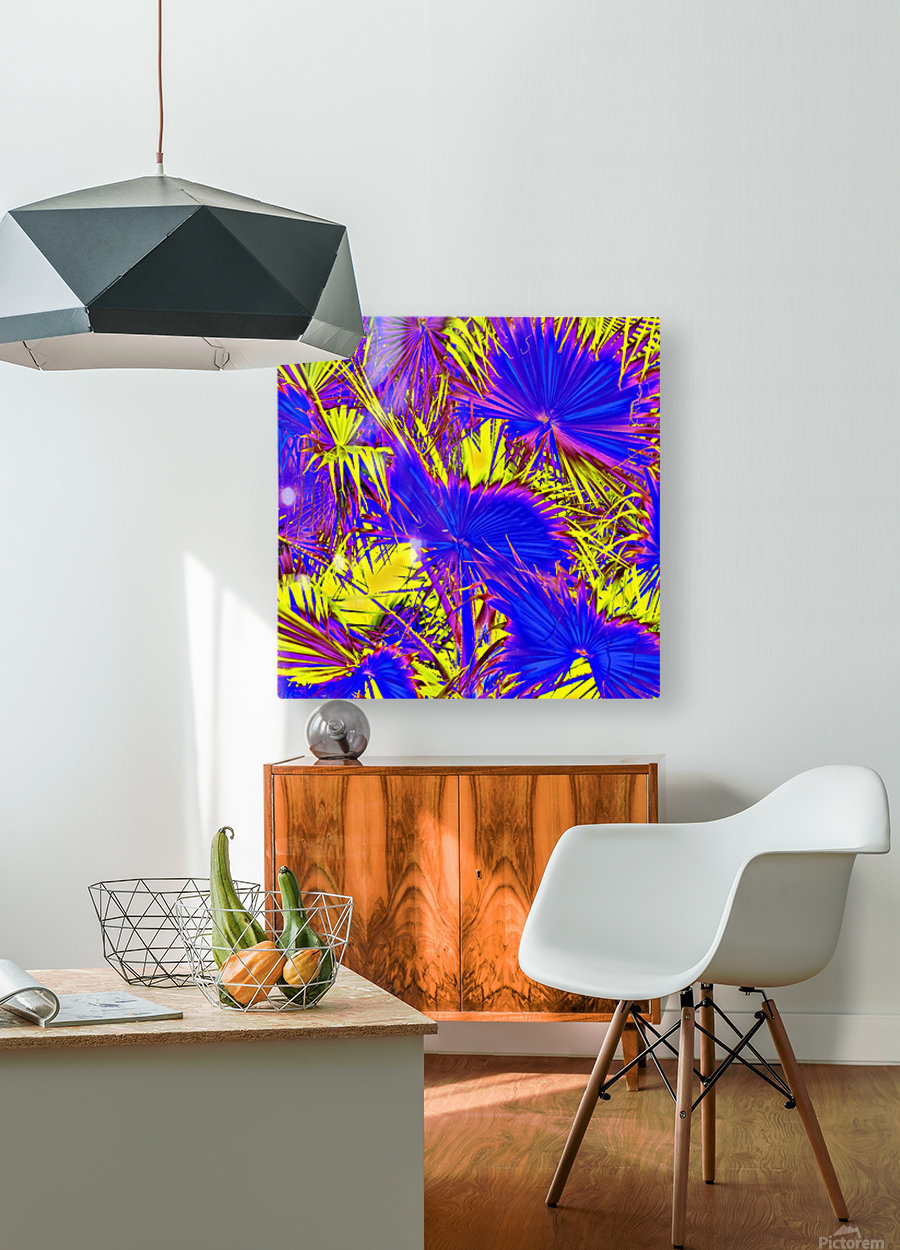 closeup palm leaf texture abstract background in blue pink and yellow  HD Metal print with Floating Frame on Back