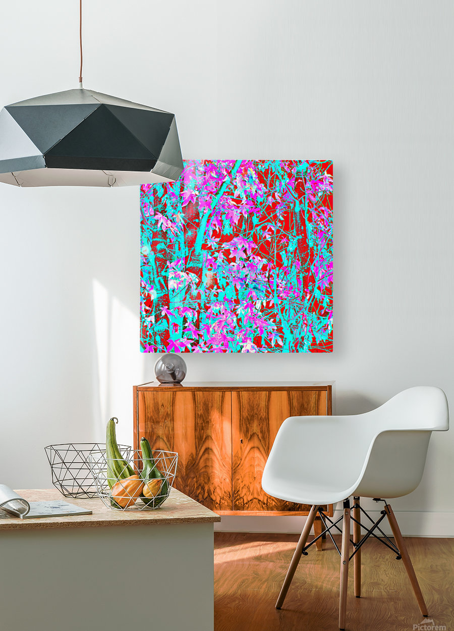 pink maple tree leaf with blue and red abstract background  HD Metal print with Floating Frame on Back