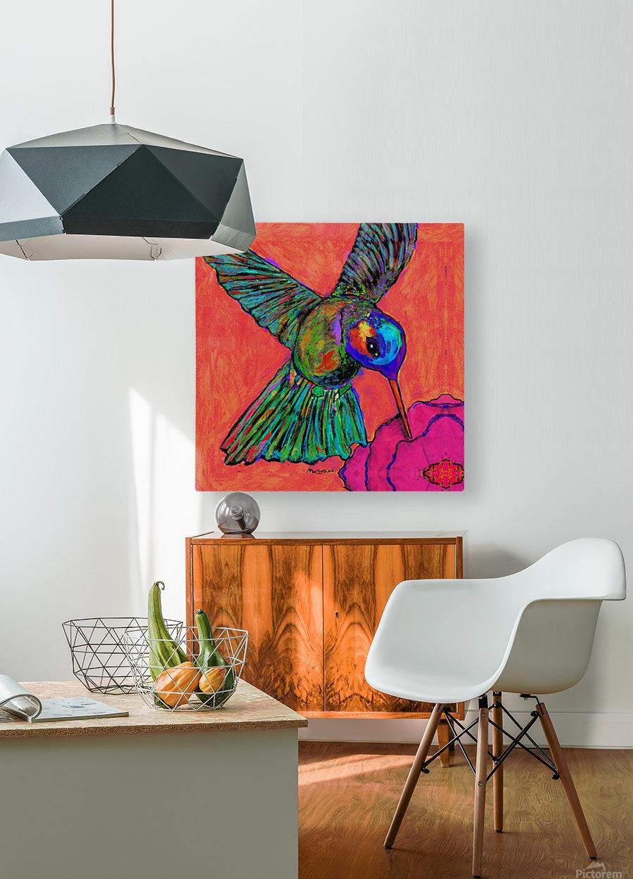 HUMMINGBIRD ON ORANGE  HD Metal print with Floating Frame on Back
