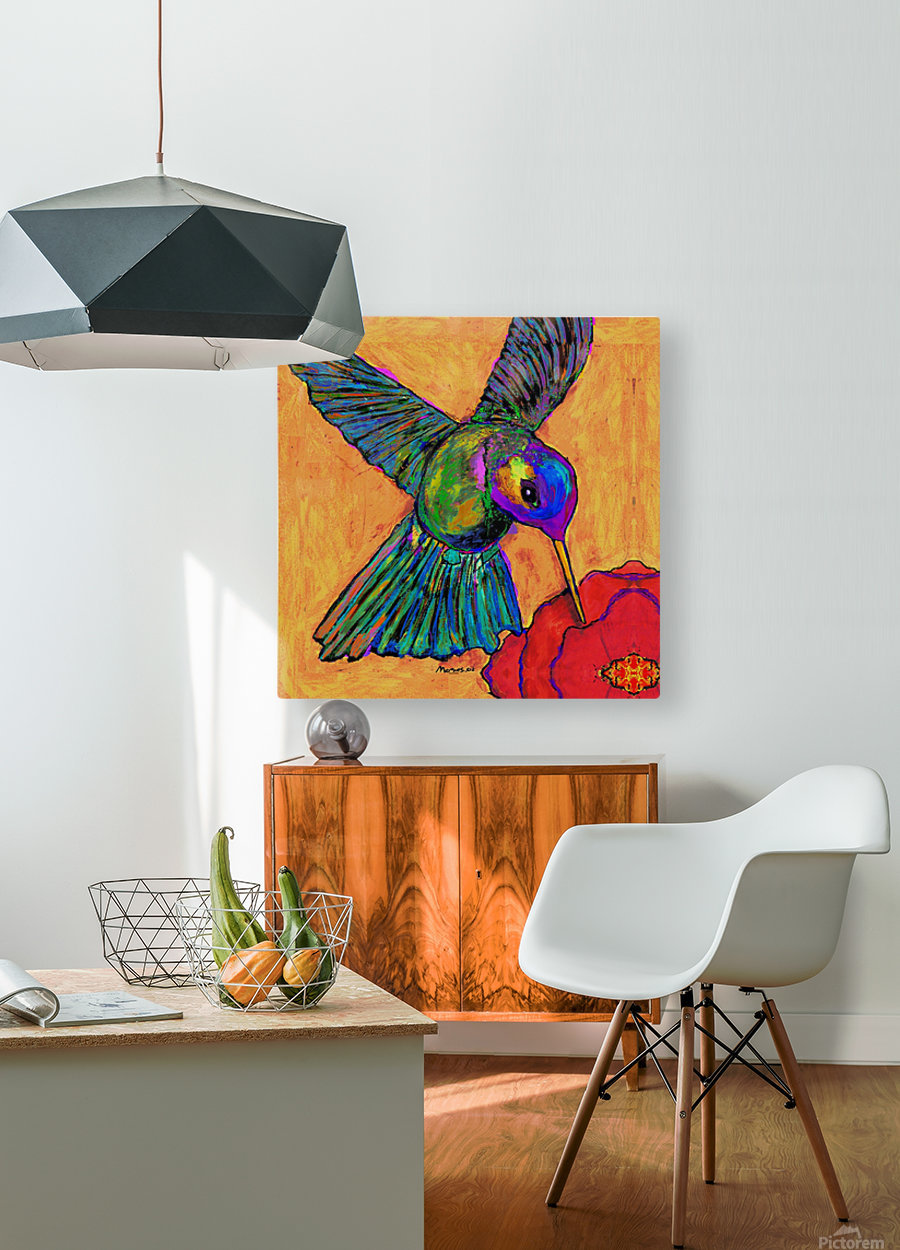 HUMMINGBIRD ON YELLOW  HD Metal print with Floating Frame on Back