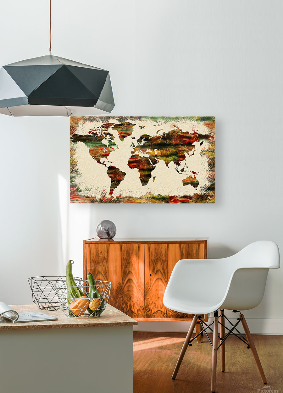 World Map Decorative Painting  HD Metal print with Floating Frame on Back
