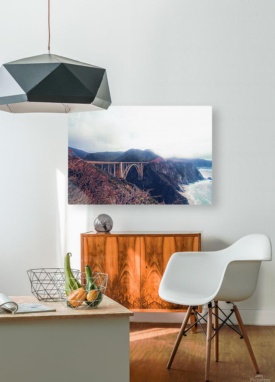 beautiful landscape at Bixby bridge, Big Sur, California, USA   HD Metal print with Floating Frame on Back