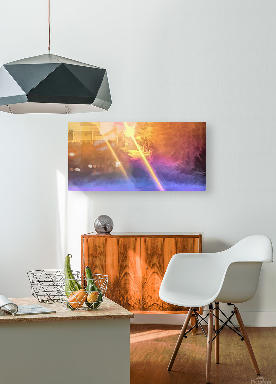 City Park at night 3  HD Metal print with Floating Frame on Back