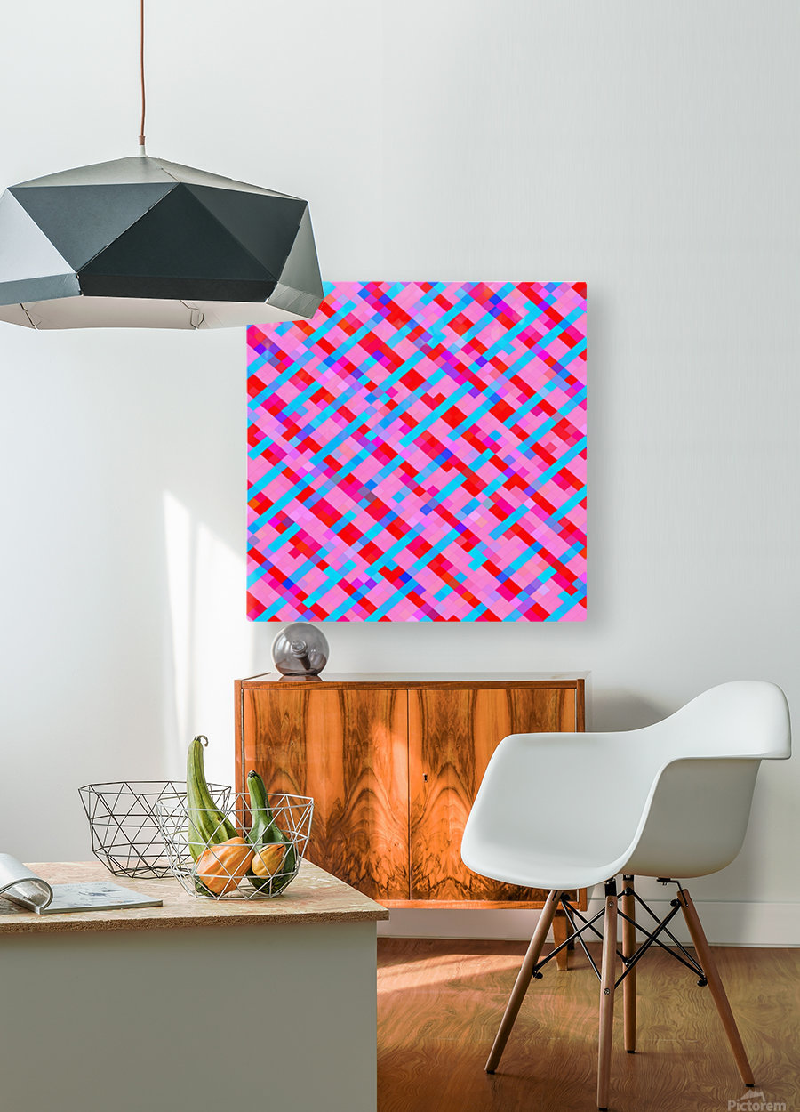 geometric pixel square pattern abstract background in pink blue red  HD Metal print with Floating Frame on Back