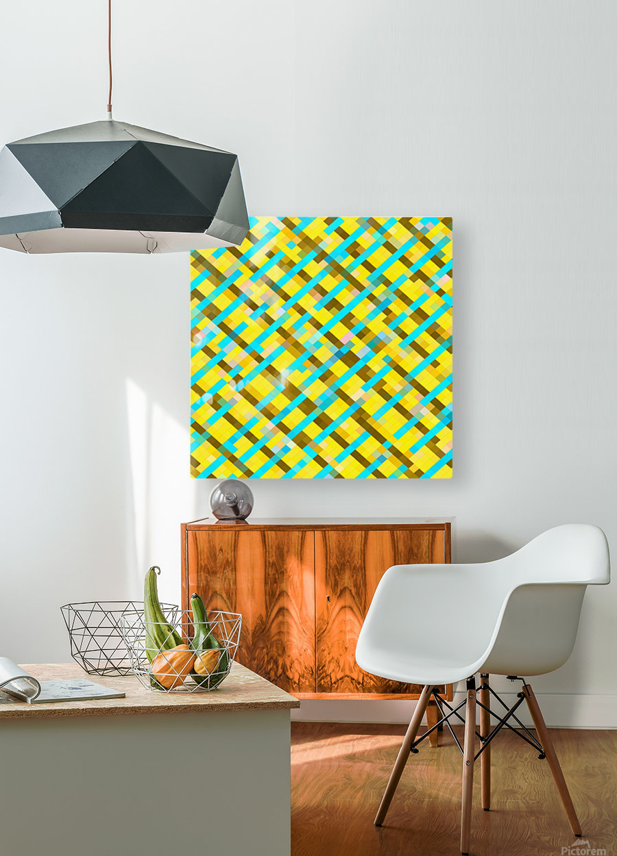 geometric pixel square pattern abstract background in yellow blue brown  HD Metal print with Floating Frame on Back