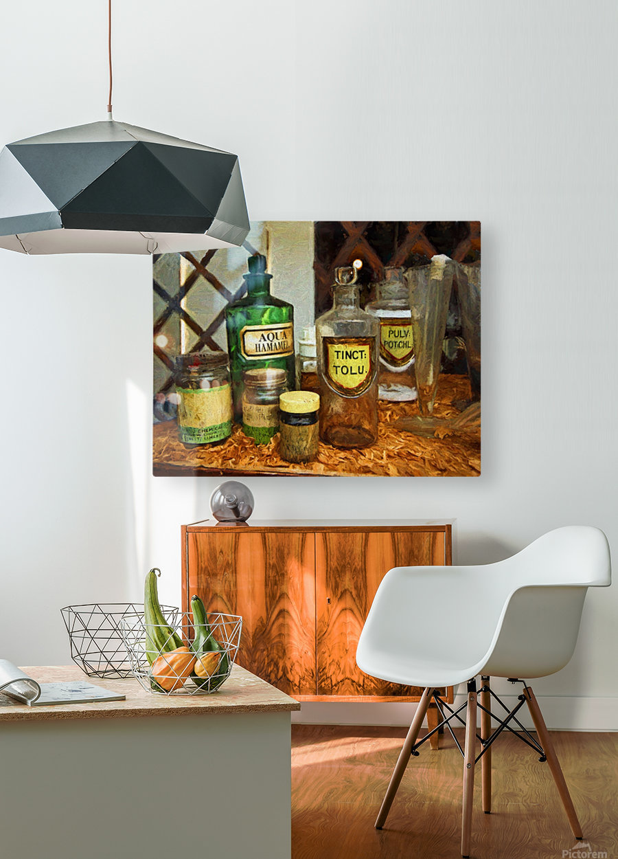 Pharmacie  HD Metal print with Floating Frame on Back