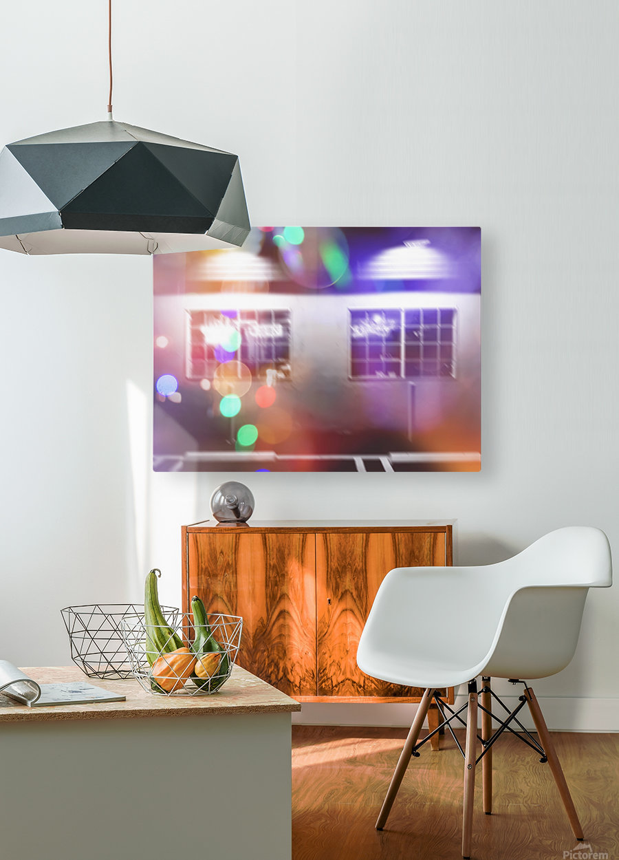 restaurant in the city with the colorful night light bokeh abstract  HD Metal print with Floating Frame on Back