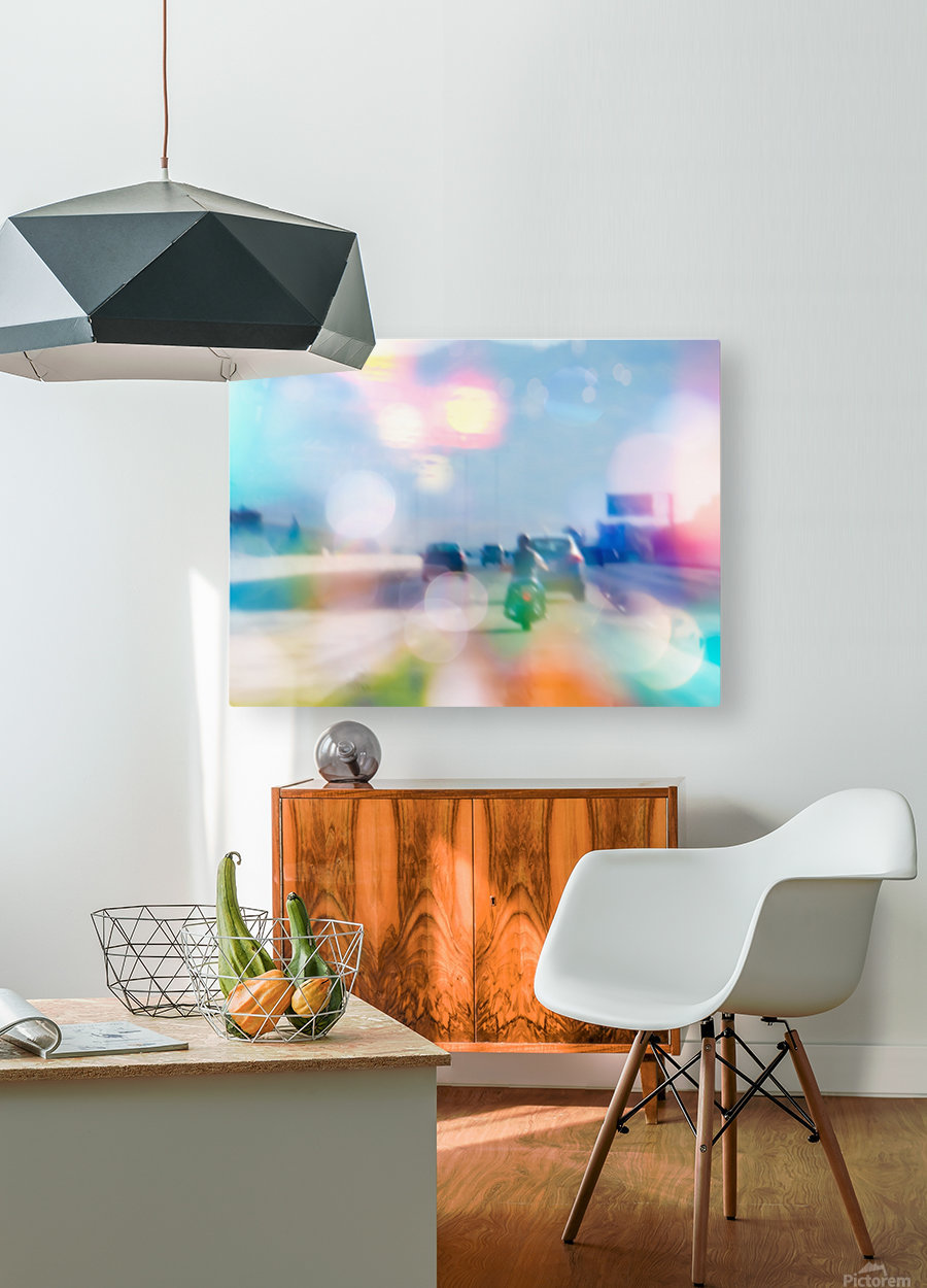 car and motorcycle on the road in the city with bokeh light  HD Metal print with Floating Frame on Back