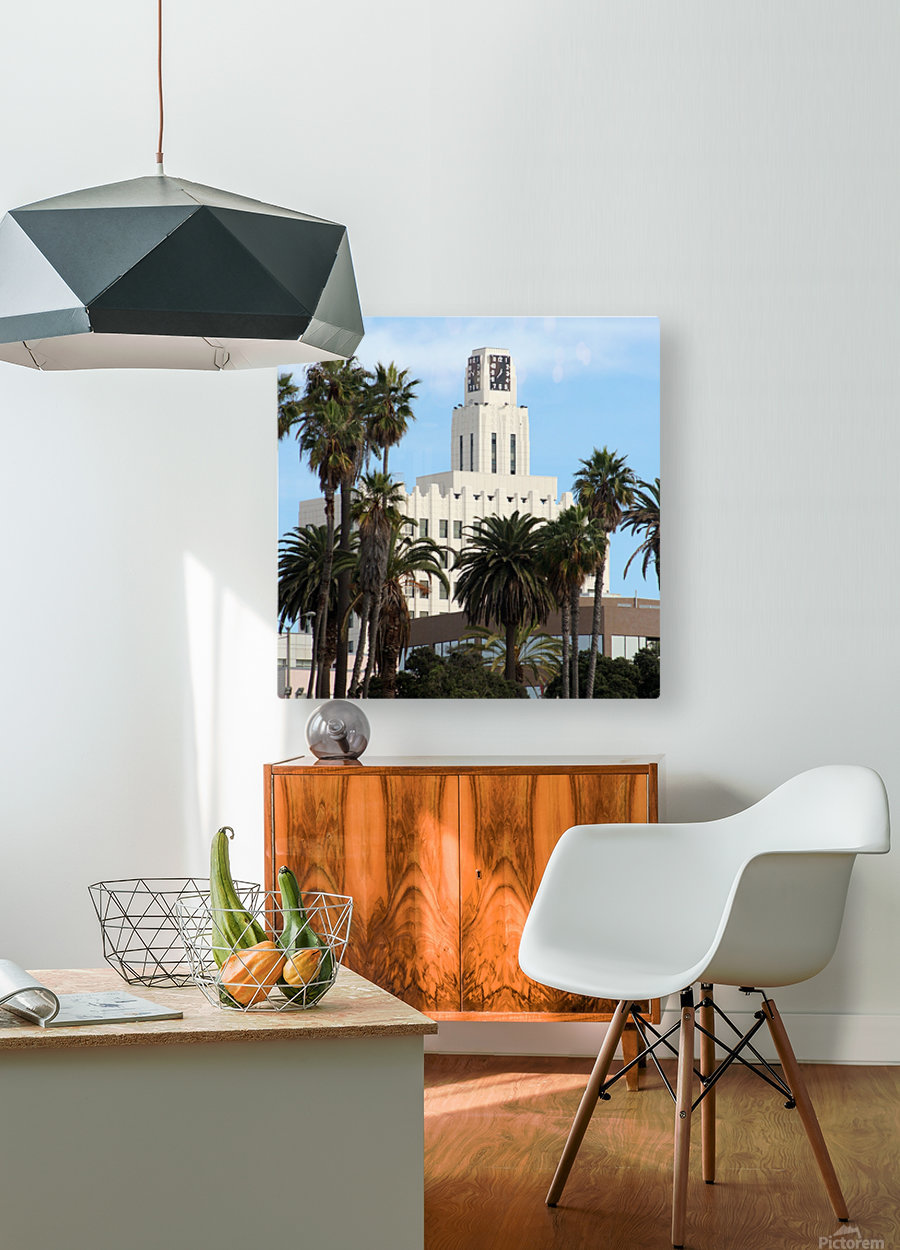 Clock Tower and Palm Trees  HD Metal print with Floating Frame on Back
